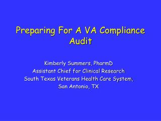 Preparing For A VA Compliance Audit