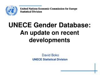 UNECE Gender Database: An update on recent developments