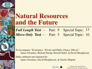 Natural Resources  and the Future