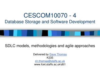 CESCOM10070 - 4 Database Storage and Software Development