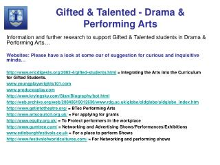 Gifted & Talented - Drama & Performing Arts