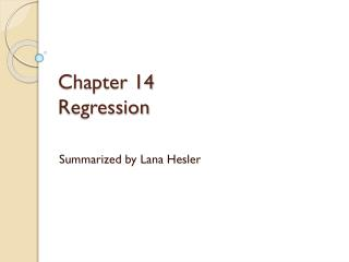 Chapter  14 Regression