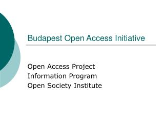 Budapest Open Access Initiative