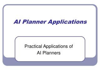 AI Planner Applications