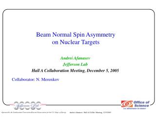 Beam Normal Spin Asymmetry on Nuclear Targets