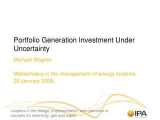 Portfolio Generation Investment Under Uncertainty