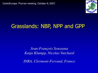 Grasslands: NBP, NPP and GPP
