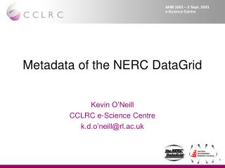Metadata of the NERC DataGrid