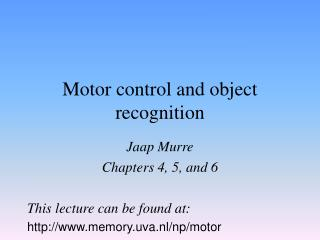 Motor control and object recognition