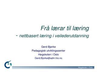 Frå lærar til læring -  nettbasert læring i veilederutdanning