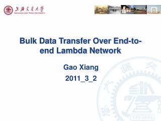 Bulk Data Transfer Over End-to-end Lambda Network