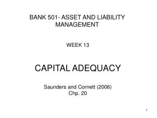 B ANK  501 - ASSET AND LIABILITY MANAGEMENT