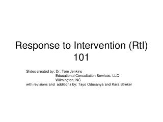 Response to Intervention (RtI) 101