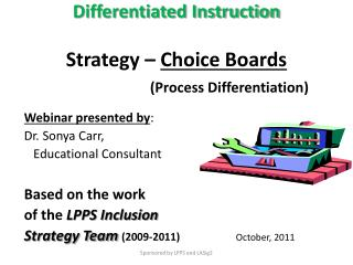 Differentiated Instruction Strategy –  Choice Boards (Process Differentiation)