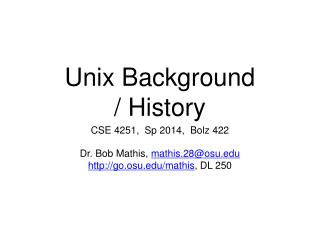Unix Background / History