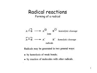 Radical reactions Forming of a radical