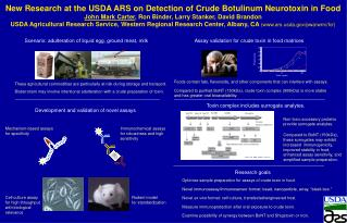 New Research at the USDA ARS on Detection of Crude Botulinum Neurotoxin in Food