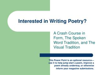 Interested in Writing Poetry?