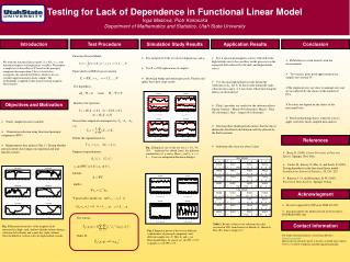 Testing for Lack of Dependence in Functional Linear Model Inga Maslova, Piotr Kokoszka