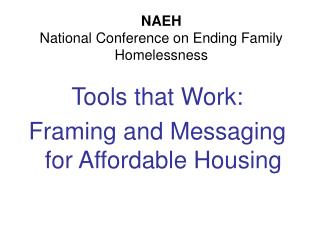 NAEH  National Conference on Ending Family Homelessness