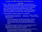 Lecture 1b: Plate Tectonics: the Earth as a System
