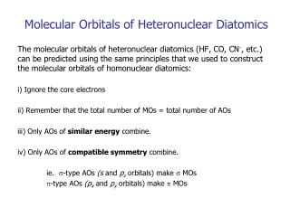 Molecular Orbitals of Heteronuclear Diatomics
