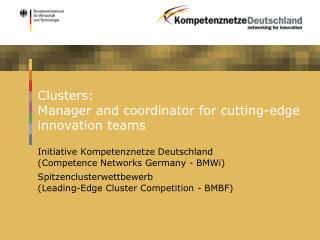 Clusters:  Manager and coordinator for cutting-edge innovation teams