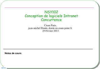 NSY102 Conception de logiciels Intranet Concurrence