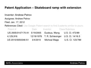 Patent Application – Skateboard ramp with extension