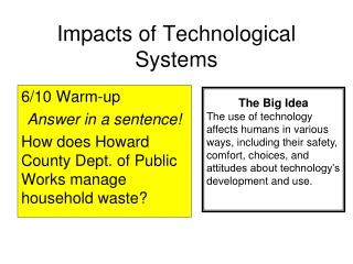 Impacts of Technological Systems