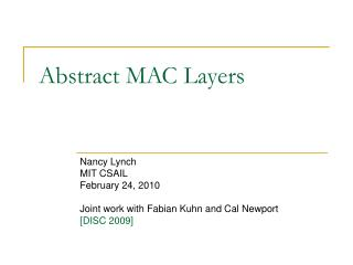 Abstract MAC Layers