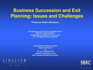 Business Succession and Exit Planning: Issues and Challenges
