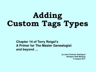 Adding Custom Tags Types