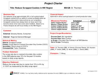 Project Charter  Title: Reduce Scrapped Cookies in NW Region BB/GB : B. Thornton