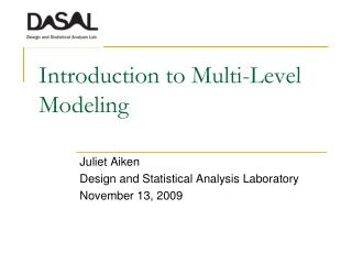 Introduction to Multi-Level Modeling