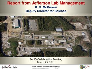 Report from Jefferson Lab Management R. D.  McKeown Deputy Director for Science