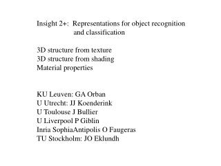Insight 2+:  Representations for object recognition                      and classification