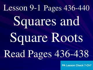 Lesson 9-1 Pages 436-440
