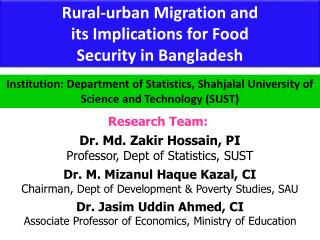Rural-urban Migration and  its Implications for Food  Security in Bangladesh