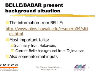 BELLE/BABAR present background situation