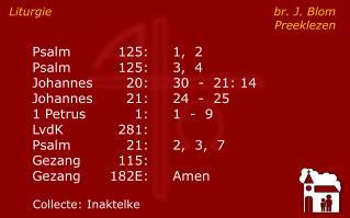 Liturgie br. J. Blom Preeklezen