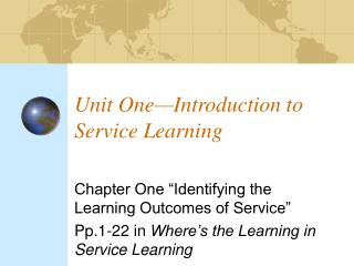 Unit One Introduction to Service Learning