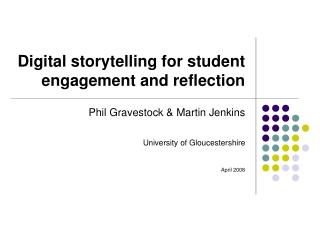 Digital storytelling for student  engagement and reflection