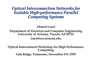 Optical Interconnection Networks for Scalable High-performance Parallel Computing Systems
