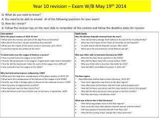 Year 10 revision – Exam W/B May 19 th  2014