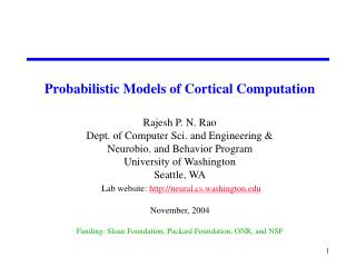 Why Consider Probabilistic Models? Computational Reasons