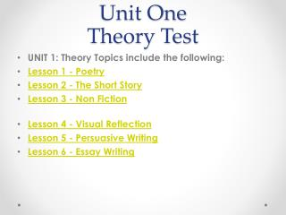 Unit One Theory Test