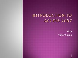 Introduction to Access 2007