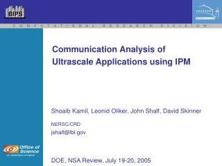 Communication Analysis of Ultrascale Applications using IPM