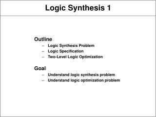 Logic Synthesis 1